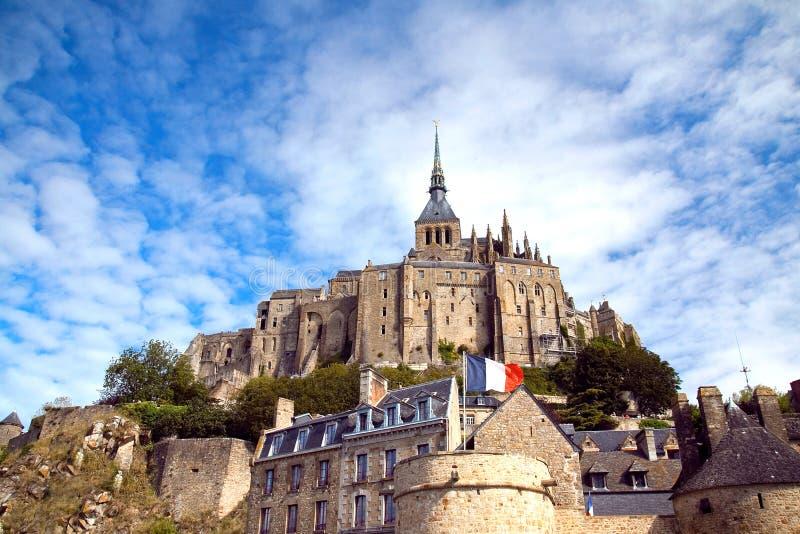 Mooie Abdij van Mont San Michel op een Zonnige dag stock afbeeldingen