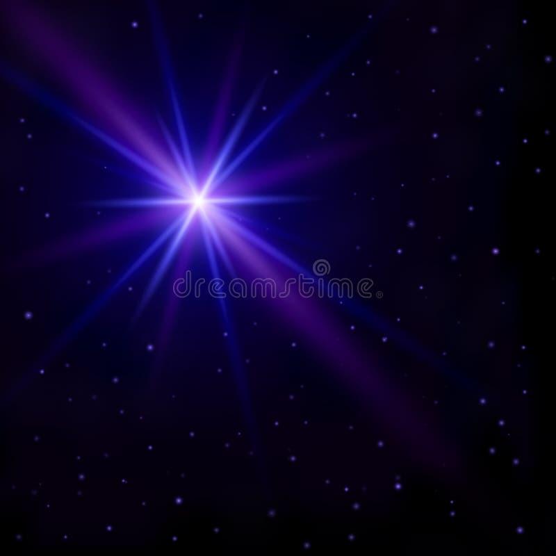 Mooie abstracte achtergrond De nachthemel met vele kleine sterren en één grote sterflits met gloeiende blauwe en purpere stralen  vector illustratie
