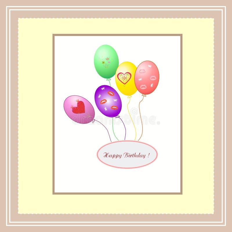 Mooie abstracte achtergrond met ballons Gelukkige Verjaardag royalty-vrije illustratie