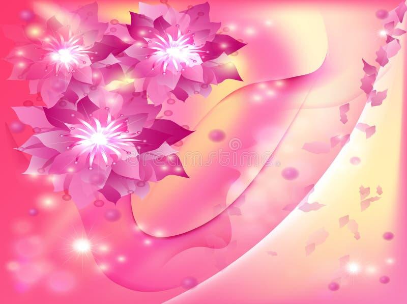 Mooie abstracte achtergrond met bloemen stock illustratie