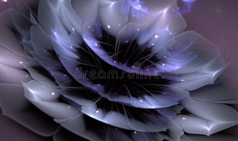 Mooie abstracte fractal bloem met glanzende details op bloemblaadjes vector illustratie