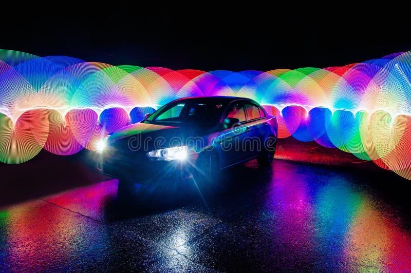 Mooie Abstracte futuristische het schilderen kleurentextuur met verlichtingseffect op auto stock foto