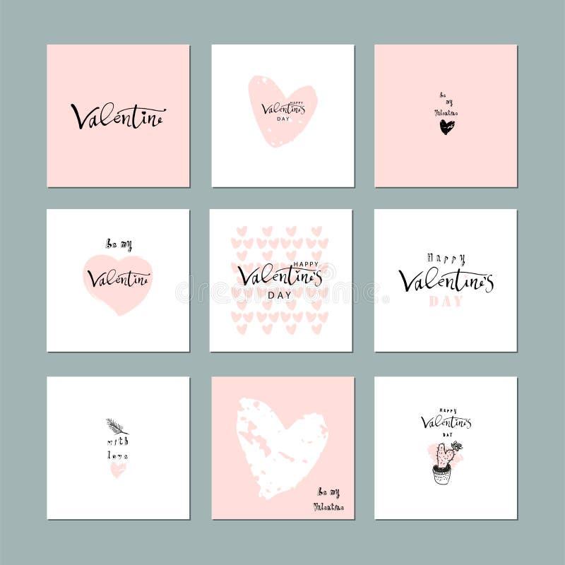 Mooie Abstracte Hand Getrokken Groetkaarten met traditionele symbolen van de Dag van Valentine Leuke beeldverhaal zachte achtergr stock illustratie
