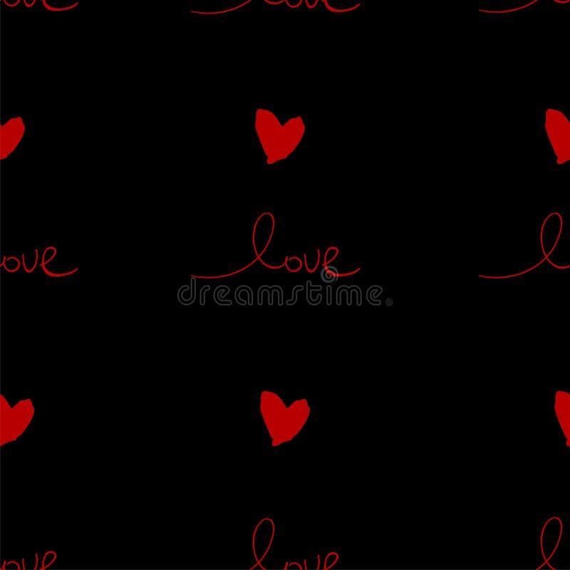 Mooie Abstracte Hand Getrokken Groetkaarten met traditionele symbolen van de Dag van Valentine s vector illustratie
