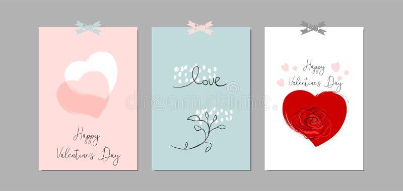 Mooie Abstracte Hand Getrokken Groetkaarten met traditionele symbolen van de Dag van Valentine s royalty-vrije illustratie