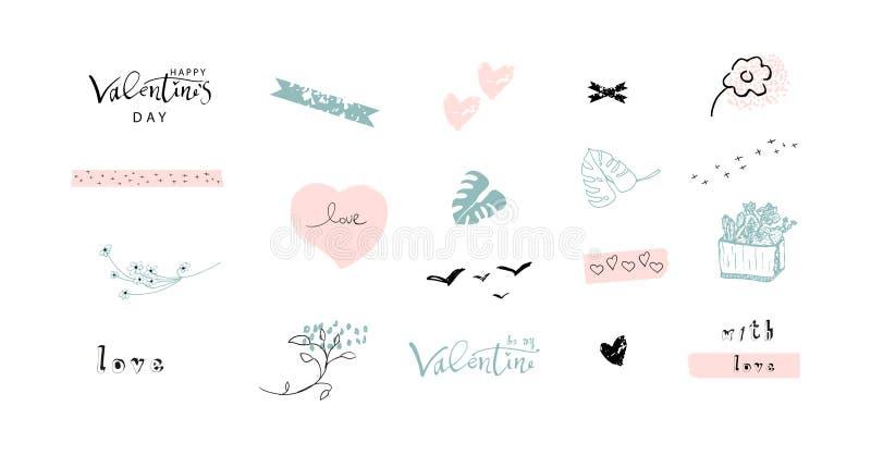 Mooie Abstracte Hand Getrokken Groetkaarten met traditionele symbolen van de Dag van Valentine s stock illustratie