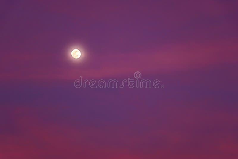 Mooie Achtergrond met de Volle maan die in Roze Hemel bij Schemer glanzen stock foto's