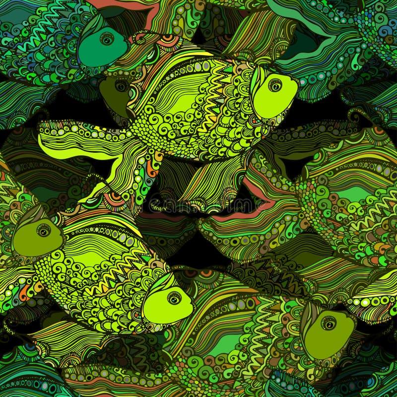 Mooie achtergrond met een eindeloze riviervis stock illustratie