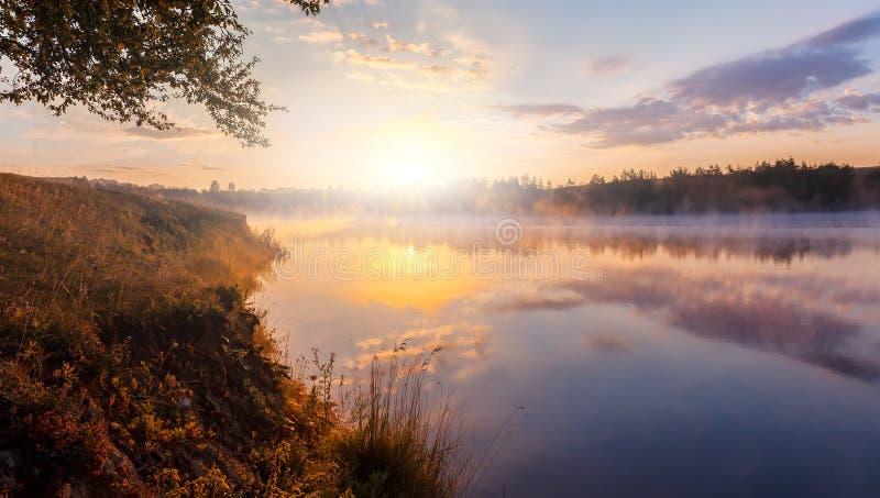 mooie achtergrond van aard prachtig nevelig landschap verbazende mistige ochtend, kleurrijke die hemel in het water van rustig wo royalty-vrije stock afbeelding