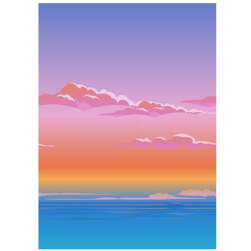 Mooie affiche met de hemel boven de wolken De vectorillustratie van het beeldverhaalclose-up stock illustratie