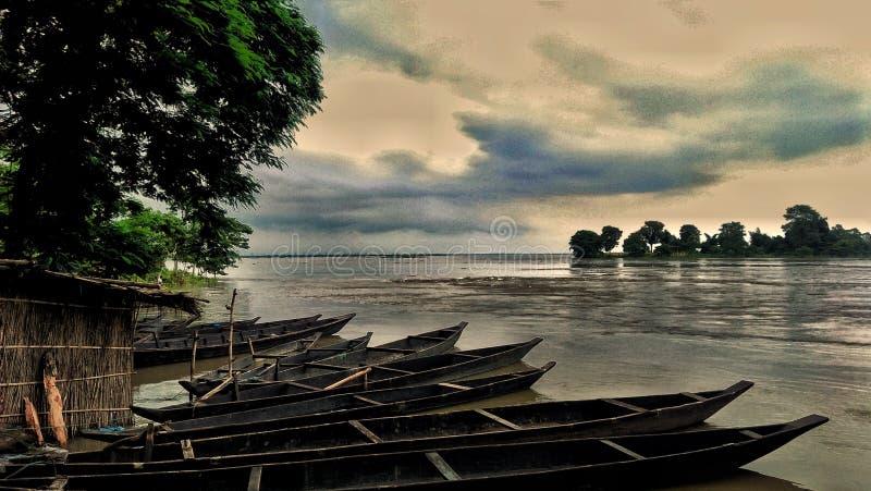 Mooie affiche van de Rivier Assam van Biswanath Ghat stock fotografie