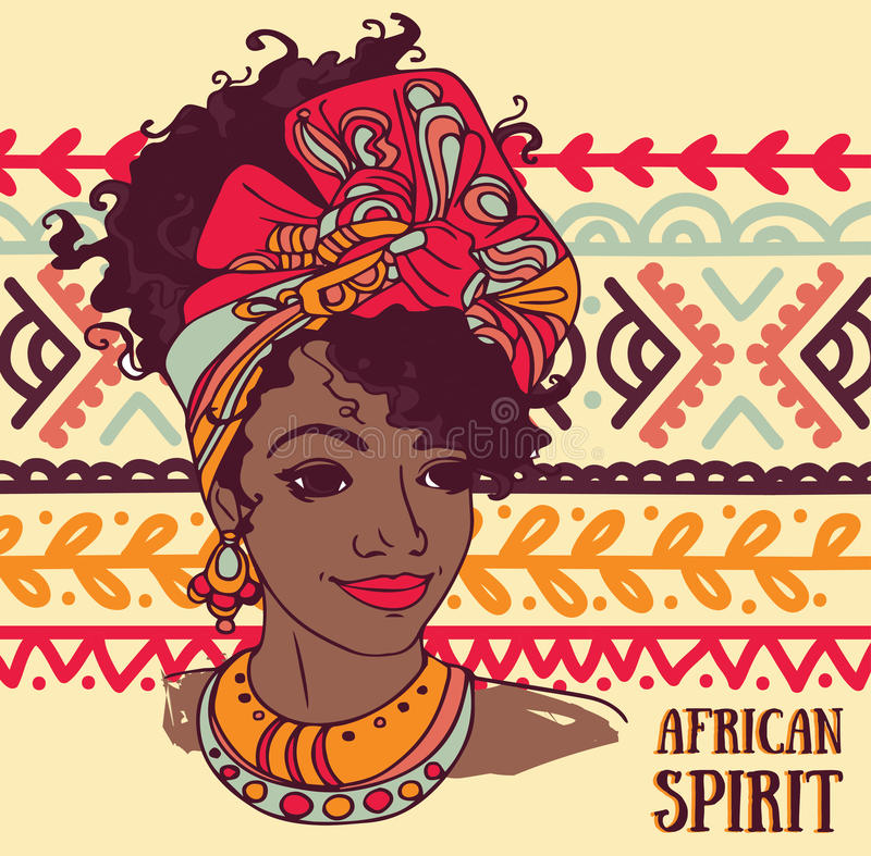Mooie Afrikaanse Amerikaanse vrouw op mooi ornament royalty-vrije illustratie