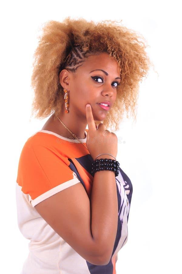 Mooie Afrikaanse vrouw met lang haircurly royalty-vrije stock fotografie
