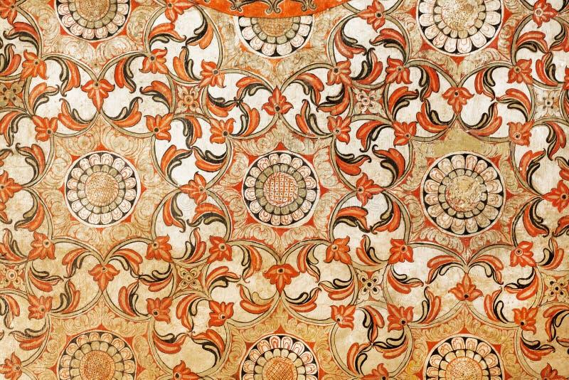 Mooie antieke fresko met bloemenpatronen en geometrisch Traditionele het kunstwerkachtergrond van Sri Lanka royalty-vrije stock fotografie