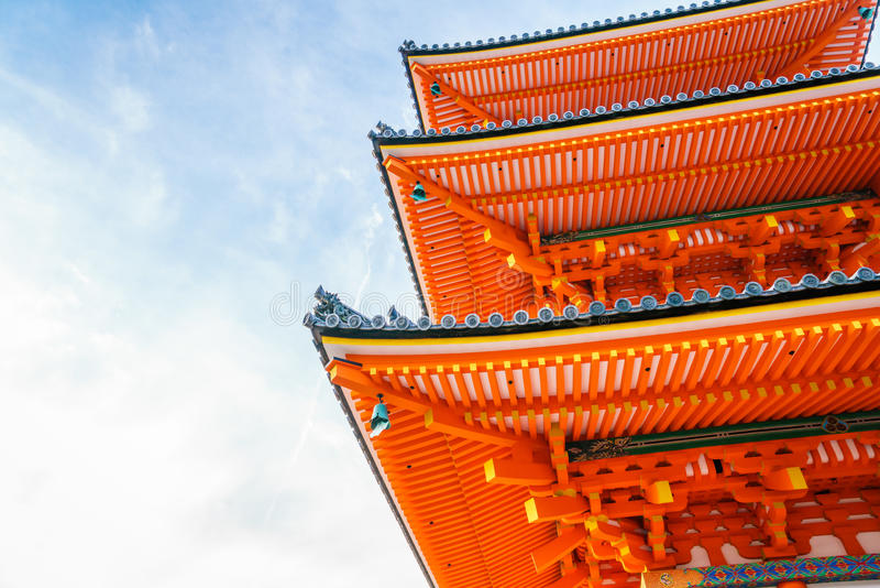 Mooie Architectuur in kiyomizu-Deratempel Kyoto, Japan royalty-vrije stock afbeeldingen