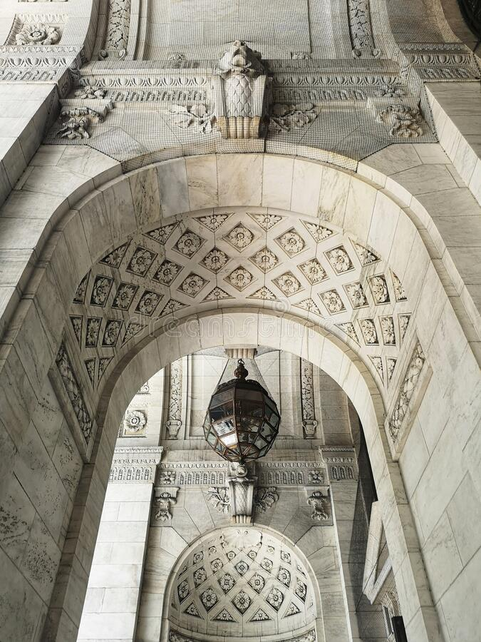 Mooie architectuurdetails in de New York City Public Library stock afbeelding