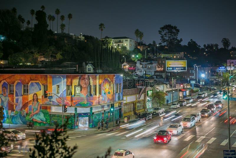 Mooie avond in Echo Park, Los Angeles royalty-vrije stock afbeelding