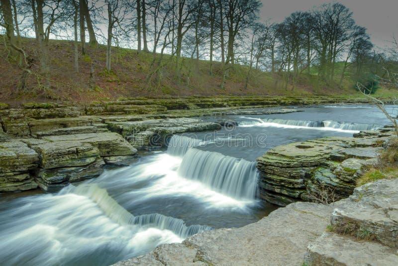 Mooie Aysgarth valt in Yorkshire, het UK royalty-vrije stock afbeelding