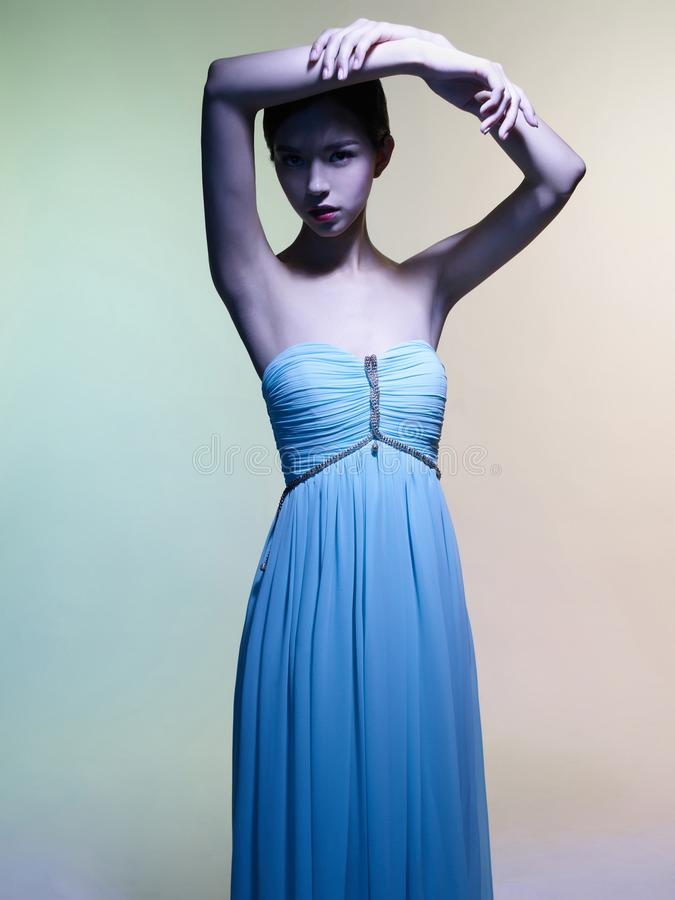 Mooie Aziatische vrouw De studioportret van de manier van mooie vrouw royalty-vrije stock fotografie