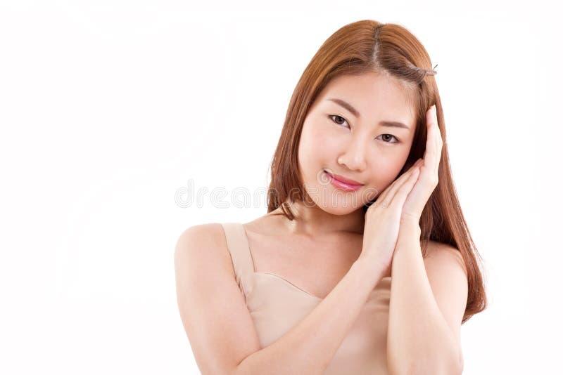 mooie Aziatische vrouw met goede, gezonde huid royalty-vrije stock foto's