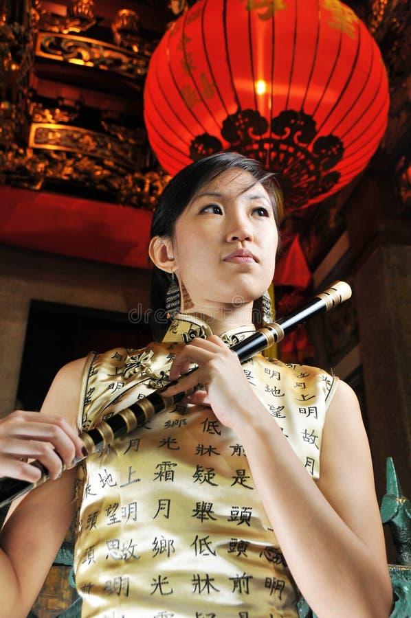 Mooie Aziatische Vrouw in Oosters Thema. stock fotografie