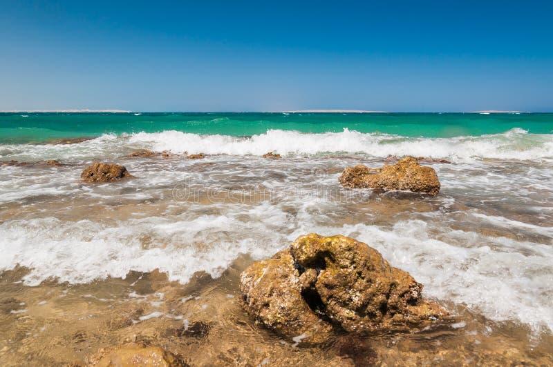 Mooie azuurblauwe rode overzees met golven en rotsen in Egypte royalty-vrije stock foto
