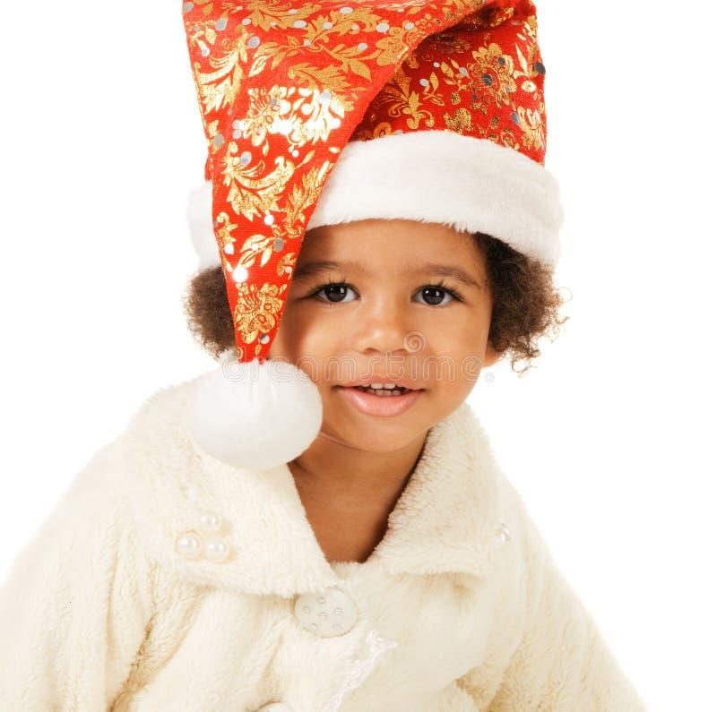 Mooie baby in de hoed en het bont van Kerstmis stock afbeeldingen