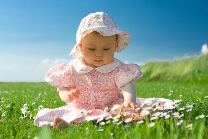 Mooie baby die op gebied wordt gezeten stock afbeeldingen