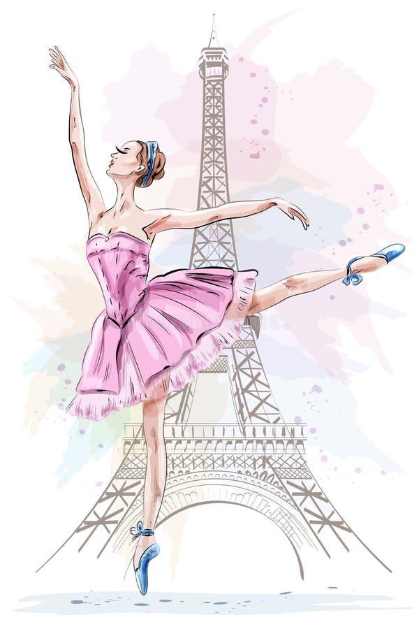 Mooie ballerina die en op de torenachtergrond van Eiffel stellen dansen Hand getrokken meisje De illustratie van het ballet dance stock illustratie