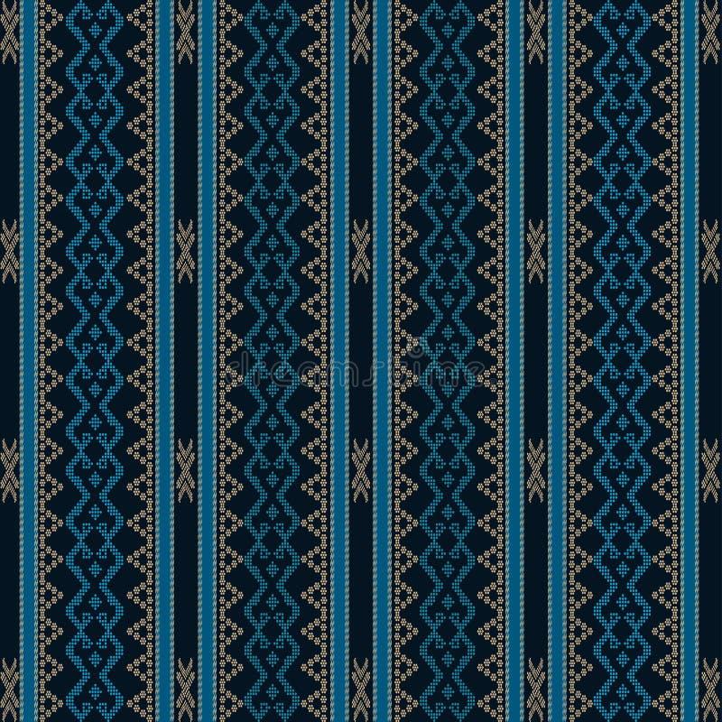 Mooie Batak Ulos-doek met verticaal ontwerp Naadloos patroon van traditionele stof royalty-vrije illustratie