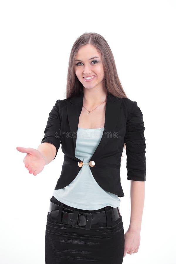 Mooie bedrijfsvrouw die op exemplaarruimte richten stock afbeeldingen