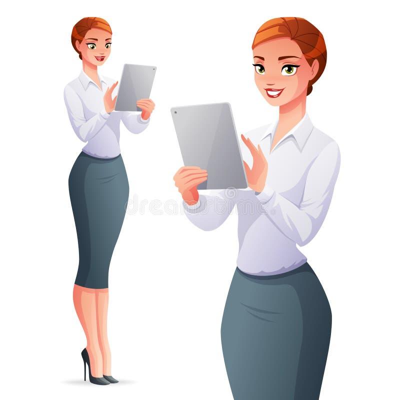 Mooie bedrijfsvrouw die tabletcomputer met behulp van Vector illustratie vector illustratie