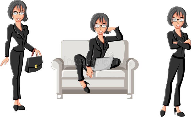 Download Mooie Bedrijfsvrouw Met Computer Vector Illustratie - Illustratie bestaande uit illustratie, schoolgirl: 54084817