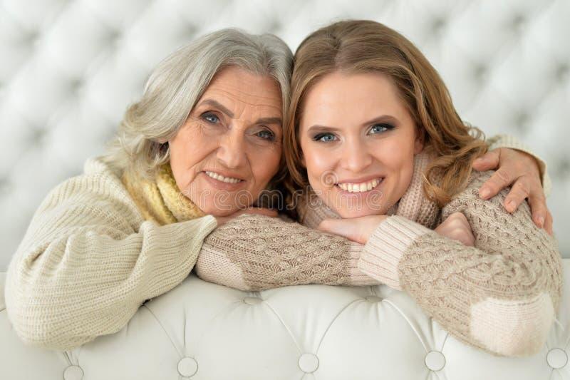 Mooie bejaarde moeder met een volwassen dochter royalty-vrije stock afbeelding