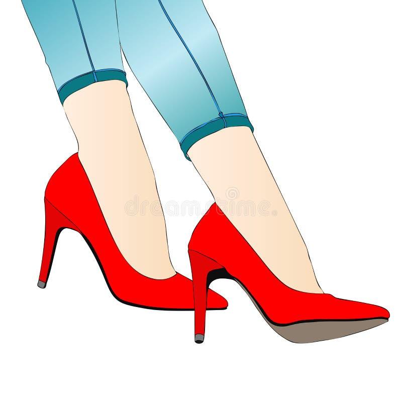 Mooie benen van een vrouw in jeans met kousen en stilettoschoenen vector illustratie