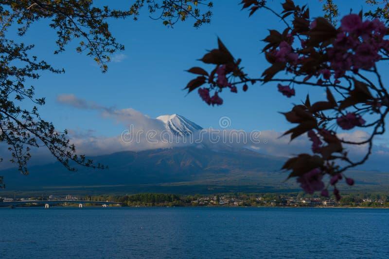 Mooie Berg Fuji en meer in Japan voor behang royalty-vrije stock afbeelding
