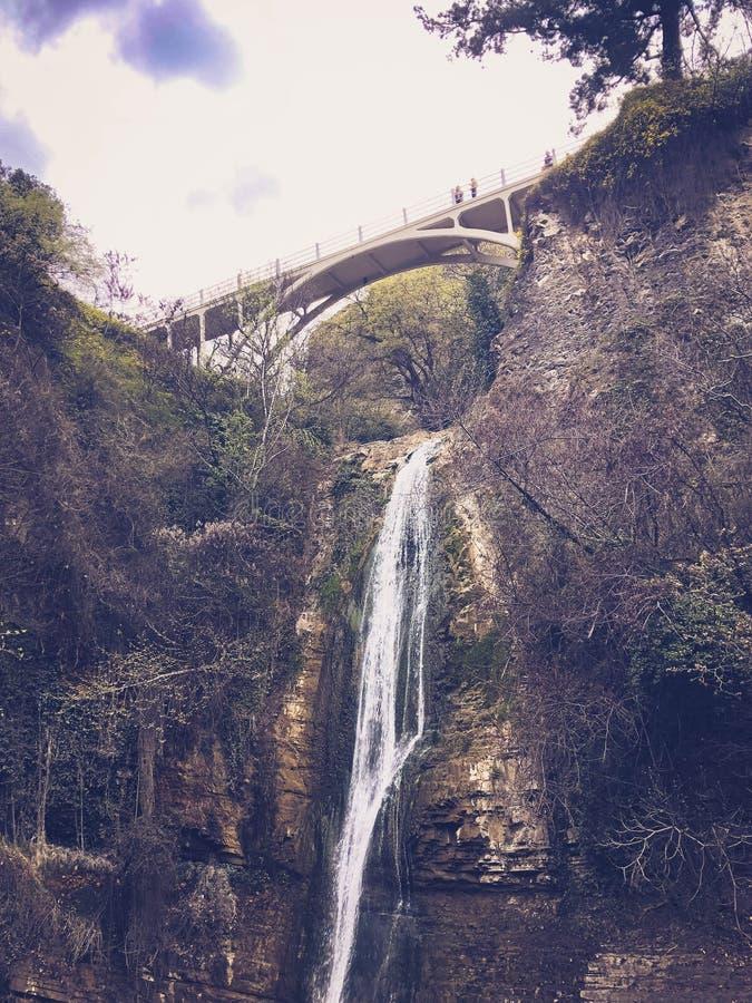Mooie bergwaterval met een dalende stroom die van die water van onder een brug op een klip stromen met bomen en installaties word royalty-vrije stock foto's