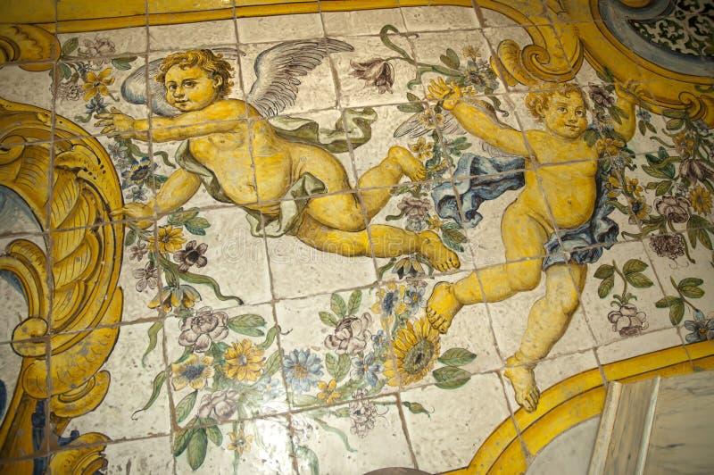 Mooie Betegelde Vloer in een Kerk in Anacapri op het eiland van Capri Italië royalty-vrije stock afbeelding