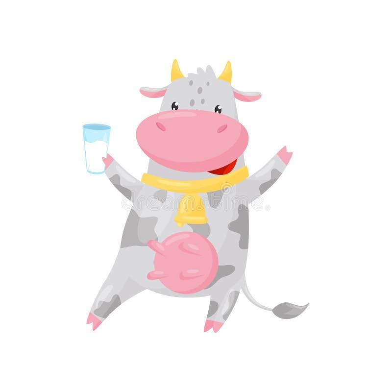 Mooie bevlekte koe met het gouden glas van de klokholding melk, grappige het karakter vectorillustratie van het landbouwbedrijf d vector illustratie