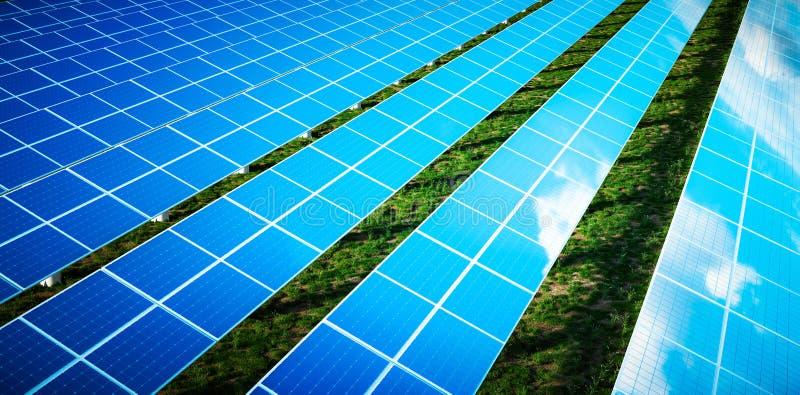 Mooie bezinning van wolken op blauwe zonnecellen van een groot zonnelandbouwbedrijf in een warm recente middaglicht met vers groe vector illustratie