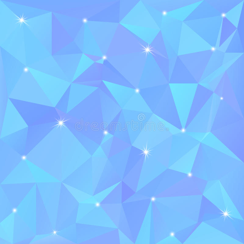 Mooie blauwe abstracte achtergrond van driehoeken en veelhoeken met flitsen van licht in de hoeken vector illustratie
