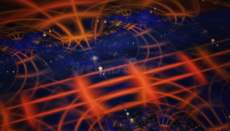 Mooie blauwe en oranje achtergrond van gloeiende deeltjes en lijnen met diepte van gebied en bokeh 3d 3d illustratie, royalty-vrije stock afbeelding