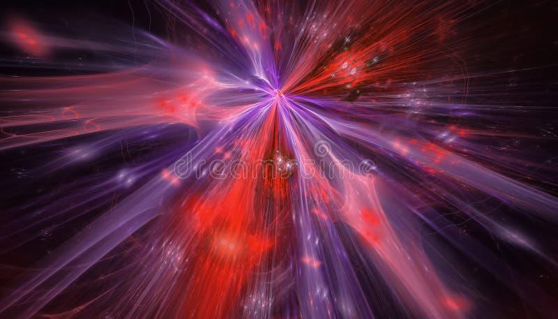 Mooie blauwe en rode achtergrond van gloeiende deeltjes en lijnen met diepte van gebied en bokeh 3d 3d illustratie, royalty-vrije stock afbeelding