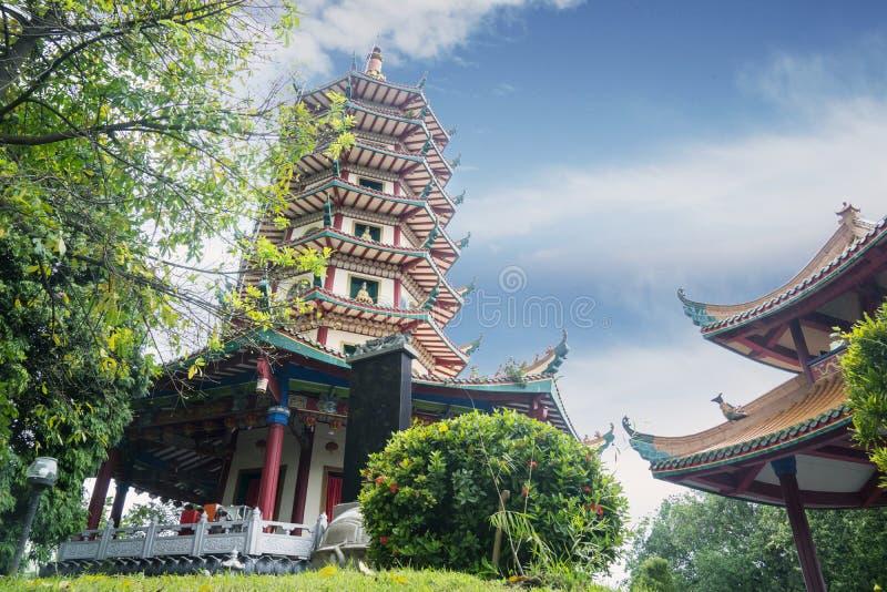 Mooie blauwe hemel boven Vihara Buddhagaya Watugong stock fotografie