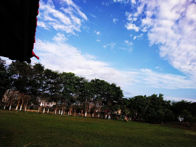 Mooie blauwe hemelmening en rond de bomen royalty-vrije stock afbeeldingen