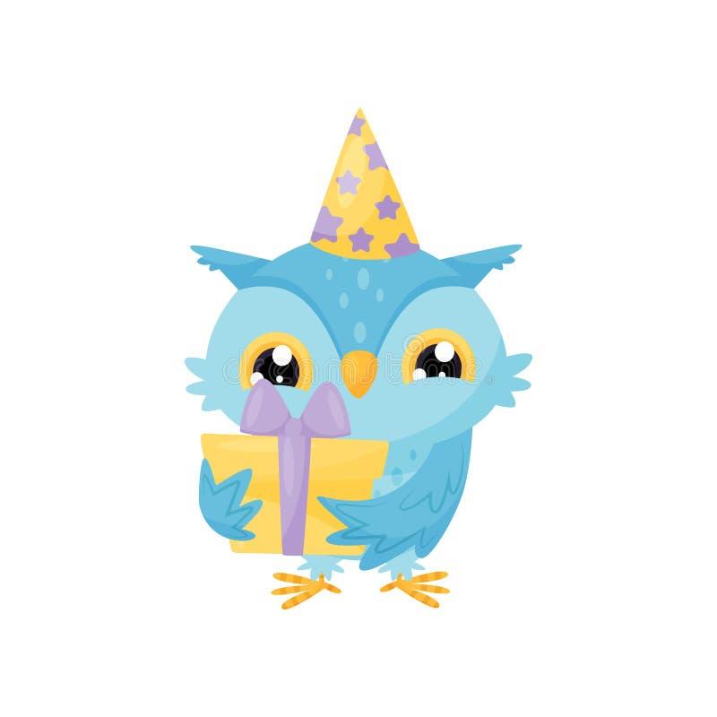 Mooie blauwe jonge uil in een partijhoed met giftdoos, het leuke karakter van het vogelbeeldverhaal, ontwerpelement voor de vecto vector illustratie