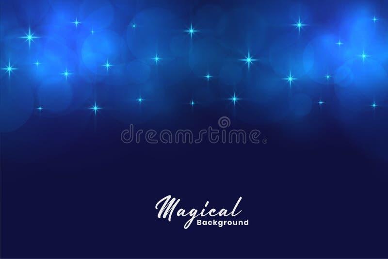 Mooie blauwe magische sterren en bokeh lichtenachtergrond stock illustratie