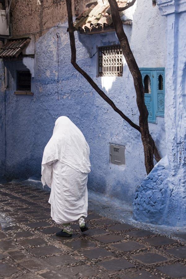 Mooie blauwe medina van de stad van Chefchaouen in Marokko stock foto