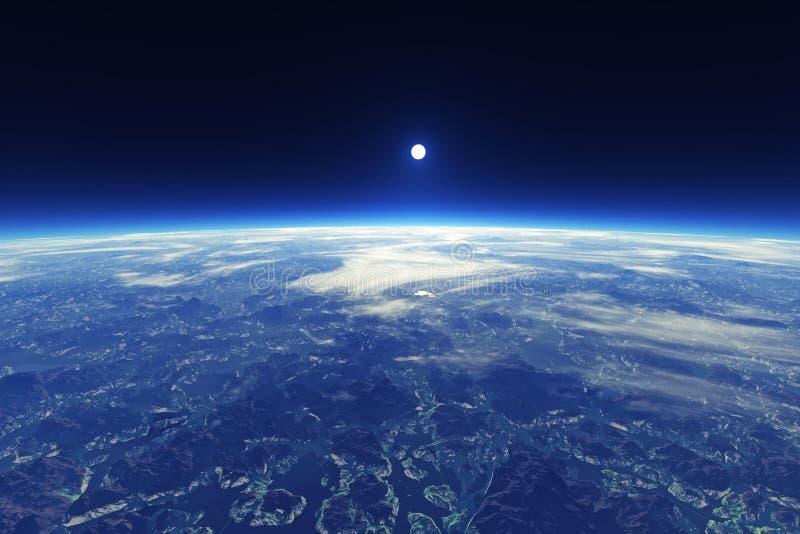 Mooie Blauwe Planeetmening van Ruimte royalty-vrije illustratie