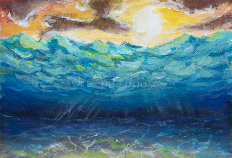 Mooie blauwe turkooise onderwaterwereld, overzeese golven, geeloranje hemel, witte zon, heldere aard, bezinning van zonstralen op royalty-vrije stock foto's